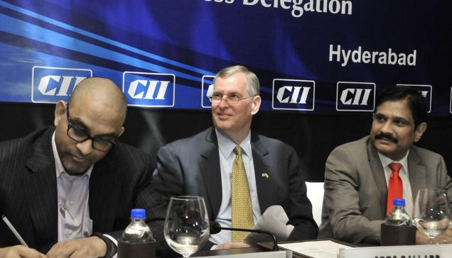 New initiatives: Greg Ballard, Mayor of the City of Indianapolis at the CII interactive session in Hyderabad on Tuesday. Suresh Chitturi (left), Vice-Chairman and B. Ashok Reddy, Chairman of CII- Andhra Pradesh are also seen. — P.V. Sivakumar / Business Line