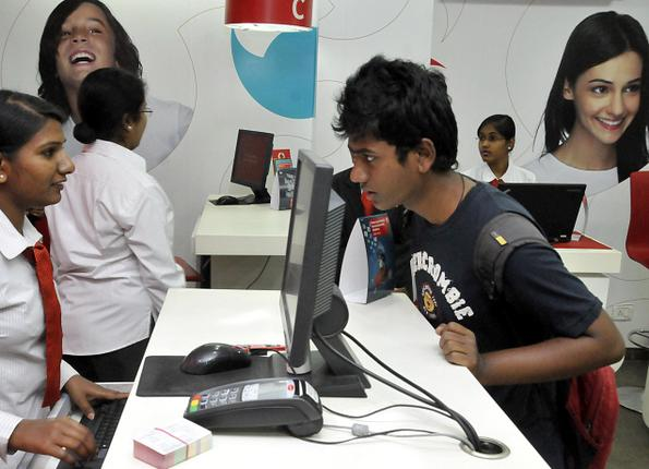An all-women Vodafone Angel Store opened for business in Hyderabad on Tuesday. -- P. V..Sivakumar / The Hindu
