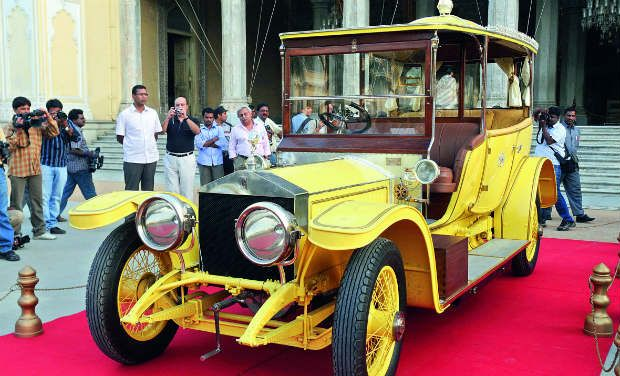 Red carpet: The yellow Rolls Royce that once belonged to the Nizam. After restoration, the car is now displayed at the Chowmahalla Palace in Hyderabad.