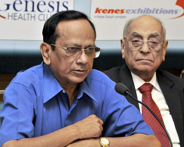 K. V. Raghavan (left), Chairman of Global Cancer Summit 2014, addressing a press conference in Hyderabad on Wednesday. Beside him is D. S. Bajaj , Secretary-General of Federation of Asian Biotech Associations. — P.V. Sivakumar / The Hindu