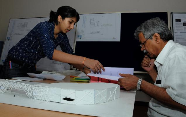 A final-year student of School of Planning and Architecture, Vijayawada explaining her project details to external jury member Balbir Verma as part of thesis presentation on Thursday./  Photo: Ch. Vijaya Bhaskar / The Hindu