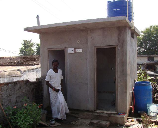 A toilet completed with Village Development Committee funds at Pendalwada in Jainad mandal of Adilabad district. / Photo: By Special Arrangement / The Hindu