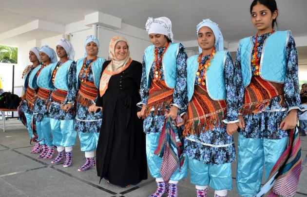 Sevim (in the centre) joins a group of girls dancing to the tune of Turkish song 'Yeni bir dunya'./  Photo: Nagara Gopal / The Hindu