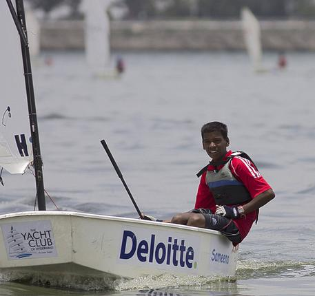 Nikhil Kumar during a sailing session. / The Hindu