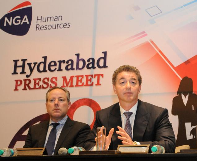 Tech focus Adel Al-Saleh (right), CEO, NGA Human Resources, and Mark Squiers, Senior Vice-President, address the media in Hyderabad on Tuesday. / - PV SIVAKUMAR / The Hindu
