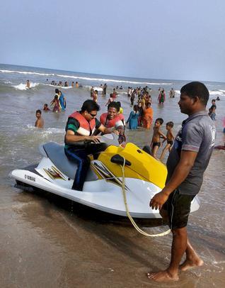 Jet skiing boat on Mypadu beach near Nellore in Andhra Pradesh. / The Hindu