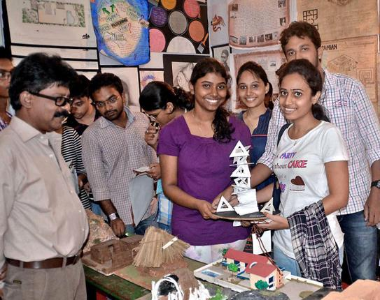 Students of Varaha College of Architecture and Planning showing a model at the Archi Tech Show in the city on Friday. Photo: C. V. SUBRAHMANYAM. / The Hindu