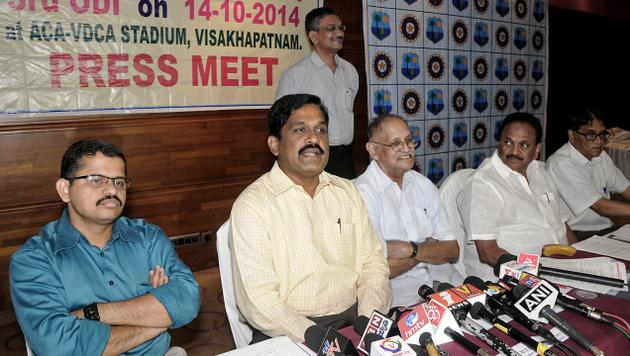 Visakhapatnam Port Trust Chairman M.T. Krishna Babu, organiising committee chairman of third ODI bewtween India and West Indies giving details of arrangments. Photo: By Aarrangement / The Hindu