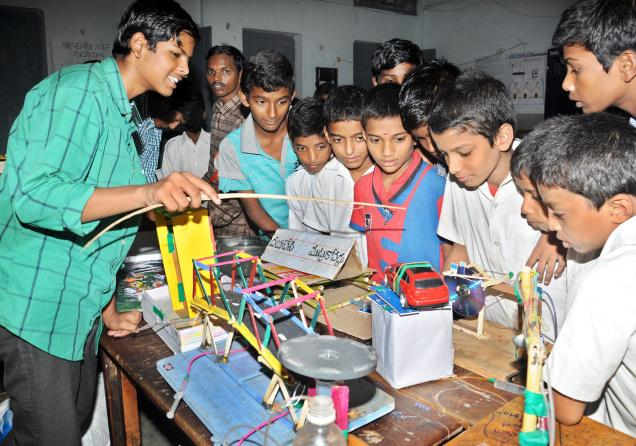 Children being explained a project 'Pascal Law - Routine Use' during the State-level science exhibition iin Visakhapatnam. PHOTO: A. MANIKANTA KUMAR
