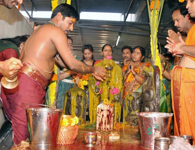 Subrahmanya Sastti festial was celebrated in many temples including at Srigari Sarada Mutt on the banks of river Godavari on Friday. Photo: S. Rambabu / The Hindu
