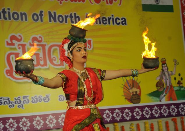 VIJAYAWADA, ANDHRA PRADESH, 21/12/2014: A dancer at her best at Chaitanya Sraanthi, a programme organised by Telugu Associaion of Norh America, in Vijayawada on Sunday. Photo: Ch. Vijaya Bhaskar / The Hindu