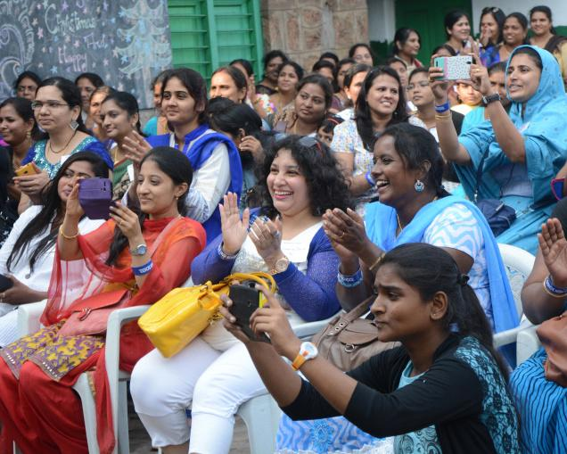 Former students of Fort Catholic Girls High School celebrating their reunion on the school campus in Visakhapatnam on Friday. Photo: C.V. Subrahmanyam / The Hindu