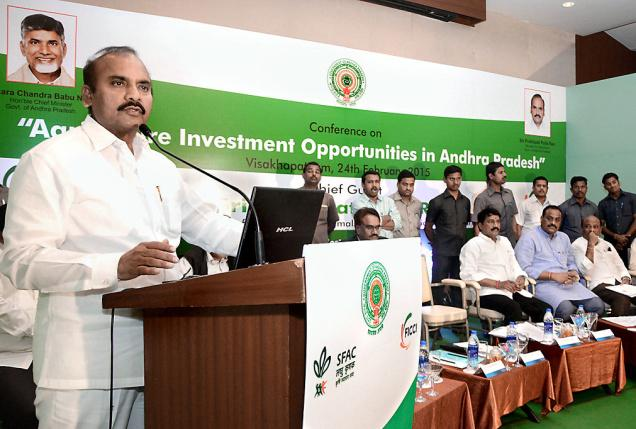 Agriculture Minister Prattipati Pulla Rao speaking at a conference on 'Agriculture investment opportunities in Andhra Pradesh' in Visakhapatnam on Tuesday.— Photo: C.V. Subrahmanyam