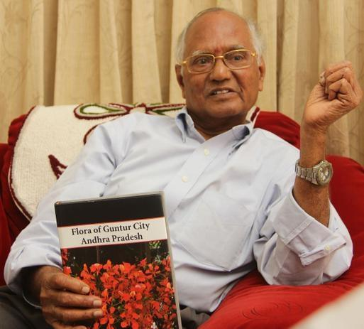 "Senior Professor of Botony P. R. Mohana Rao shares excerpts from his book ``Flora of Guntur City Andhra Pradesh,"" in Guntur. Photo: T. Vijaya Kumar"