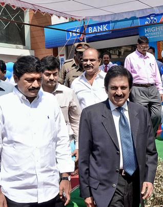 YES Bank Group President R. Ravichander and Minister Ganta Srinivasa Rao after inauguration of the bank's flagship branch in Visakhapatnam on Thursday. —Photo: C.V. Subrahmanyam