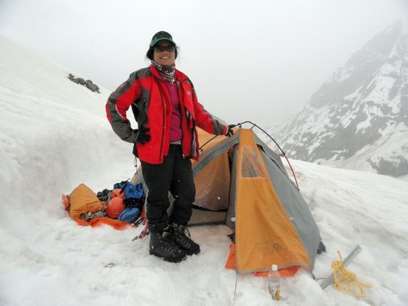 Adilabad Additional Superintendent of Police G.R. Radhika at a tent on her way to the summit of the Kun mountain in Jammu and Kashmir. - Photo: By Arrangement