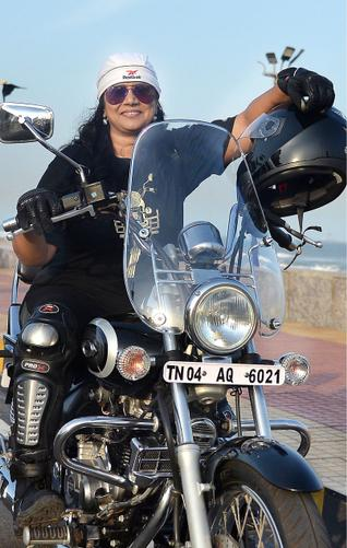 Woman biker Vaishali More, who will embark on a solo ride covering three states of AP, Telangana and Maharashtra for a social cause, in Visakhapatnam on Tuesday.— Photo: K.R. Deepak