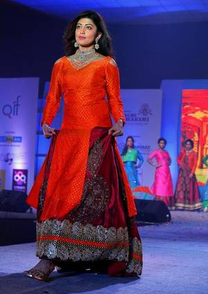 Sizzling: Actor Pranita walking the ramp showcasing the collections designed by students at a fashion show in Visakhapatnam on Saturday. | Photo Credit: K_R_DEEPAK;K_R_DEEPAK -