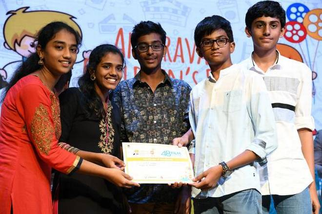 Students of KKR Gowtham School, who bagged first place in 48-hour challenge, in Vijayawada. | Photo Credit: A_V_G_PRASAD