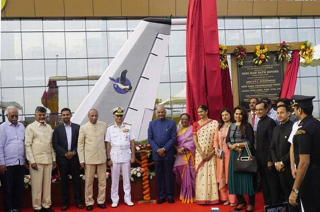 Boost to tourism: President Ram Nath Kovind and other dignitaries after the inauguration of TU-142 Aircraft Museum in Visakhapatnam on Thursday.   | Photo Credit: C.V.Subrahmanyam