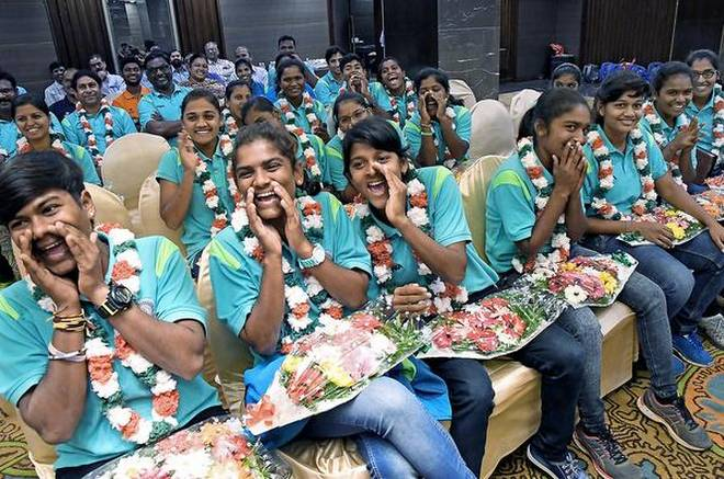 Moment to cherish:Members of Andhra u-19 women's team in a cheerful mood during a felicitation programme in Vijayawada on Friday.V. RAJUV RAJU.