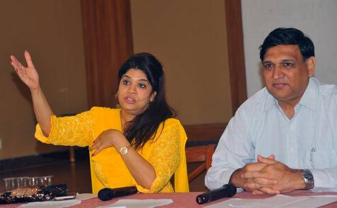 Lalita Vaswani, vice-president of World Birdstrike Association (South Asia), and Raman Emani, Director of BirdGard India Pvt Limited, briefing the media in Visakhapatnam on Wednesday. | Photo Credit: C.V.Subrahmanyam