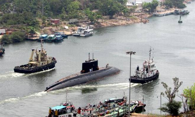 A file photo of INS Sindhukirti, seventh Sindhughosh-class submarine of Indian Navy, being towed in the channel for undertaking sea trials in Visakhapatnam. | Photo Credit: arranged