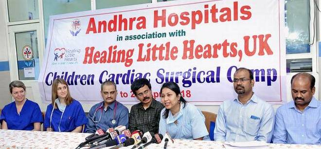 Surgeons of Healing Little Hearts, UK, who are in the team that completed 300 free operations, in Vijayawada.   | Photo Credit: ARRANGED