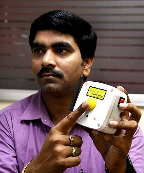 Pavan with his 'emergency health intimation' device.